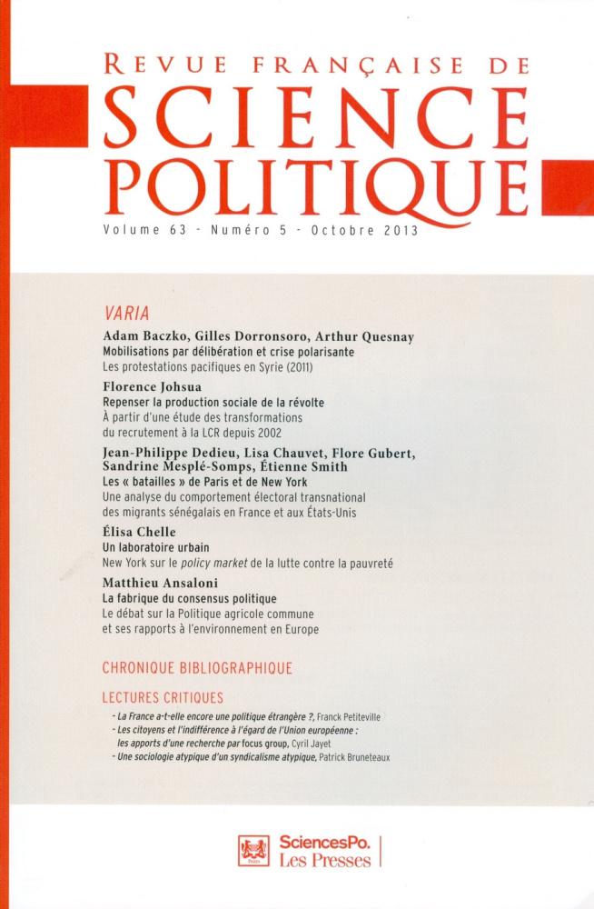 REVUE FRANCAISE DE SCIENCE POLITIQUE